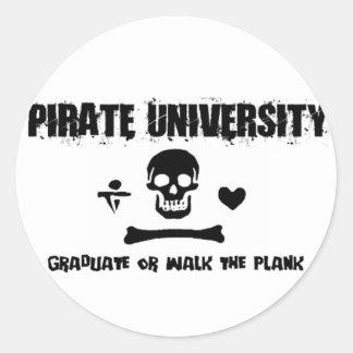 Pirate University Classic Round Sticker