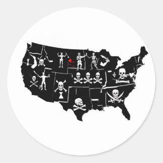 PIRATE USA 5 CLASSIC ROUND STICKER