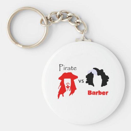 Pirate vs Barber Basic Round Button Keychain