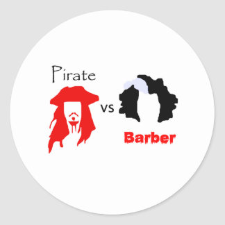 Pirate vs Barber Classic Round Sticker