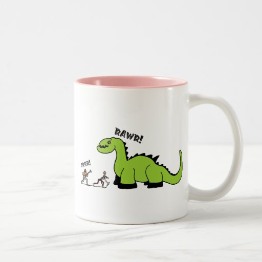 Pirate vs. Dinosaur Two-Tone Coffee Mug