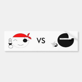 pirate vs ninja bumper sticker