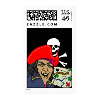 Pirate w/ Treasure Map Jolly Roger Flag Stamps