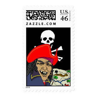 Pirate w Treasure Map Jolly Roger Flag Stamps