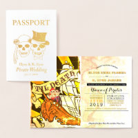 Pirate Wedding Gold Foil Passport Foil Card