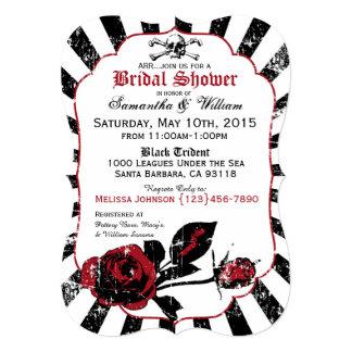 Pirate Wedding Goth Roses Bridal Shower Card