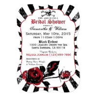 Pirate Wedding Goth Roses Bridal Shower Invitation