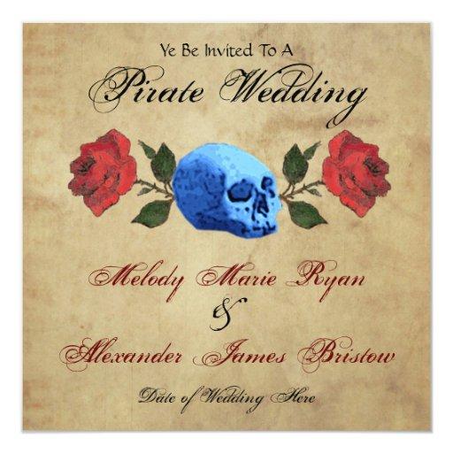 Pirate Wedding 5.25x5.25 Square Paper Invitation Card