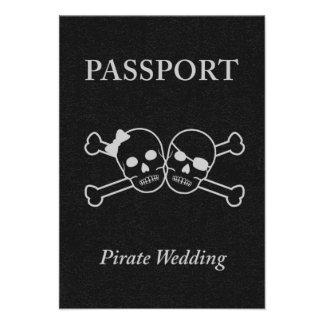 pirate wedding passport invitation