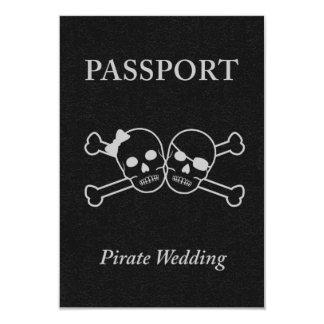"pirate wedding passport 3.5"" x 5"" invitation card"