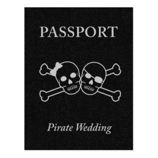 pirate wedding passport postcard