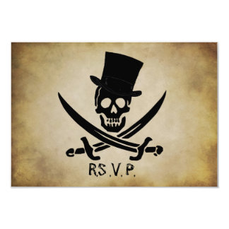"Pirate Wedding RSVP Response Card 3.5"" X 5"" Invitation Card"