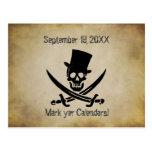Pirate Wedding Save the Date Postcard