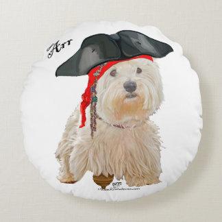 Pirate Westie Round Pillow
