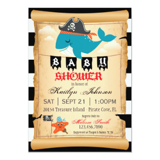 Pirate Whale and Starfish Baby Shower Card