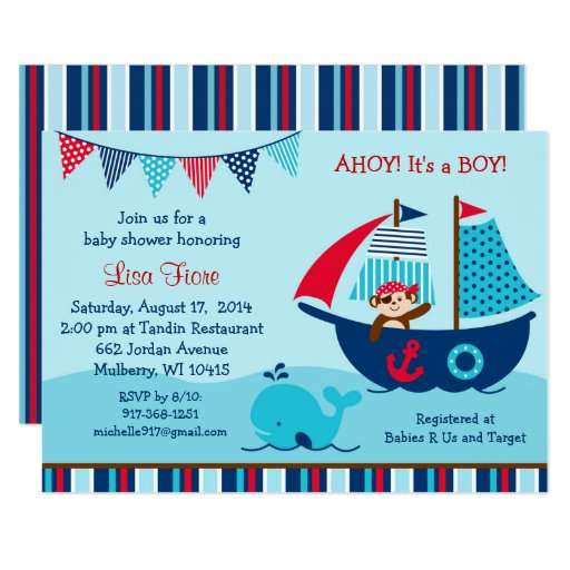 Pirate Whale Baby Shower Card