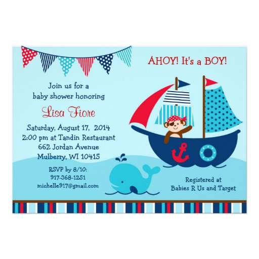 pirate whale baby shower invitations