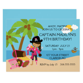 Pirate with a Peg Leg Birthday Party Card