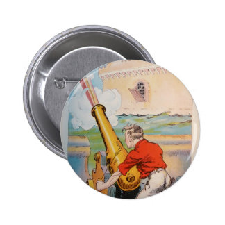 Pirate With Cannon 2 Inch Round Button