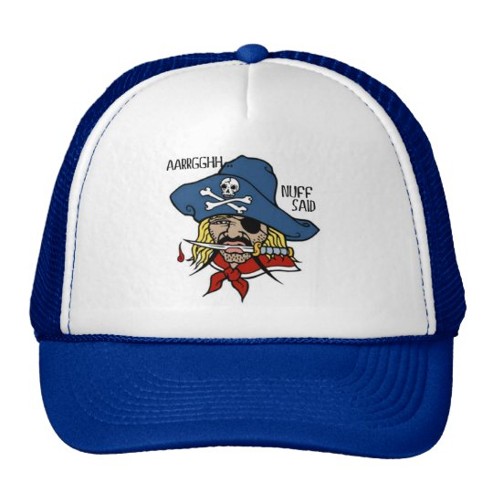 PIRATE WITH DAGGER...ARGH NUFF SAID TATTOO PRINT TRUCKER HAT