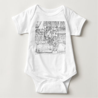 pirate with food up on ship sketch baby bodysuit