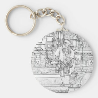pirate with food up on ship sketch basic round button keychain