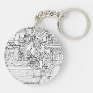 pirate with food up on ship sketch Double-Sided round acrylic keychain