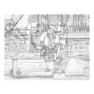 pirate with food up on ship sketch flyer