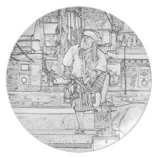 pirate with food up on ship sketch melamine plate