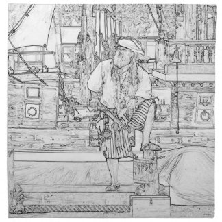 pirate with food up on ship sketch napkin