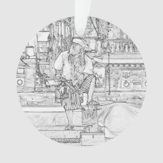 pirate with food up on ship sketch ornament