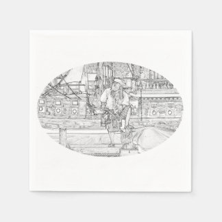 pirate with food up on ship sketch paper napkin