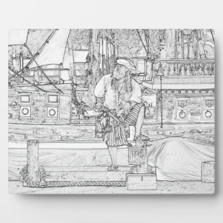 pirate with food up on ship sketch plaque