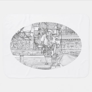 pirate with food up on ship sketch stroller blanket