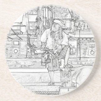 pirate with foot up on ship sketch pirates beverage coaster