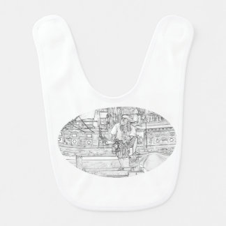 pirate with foot up on ship sketch pirates bib