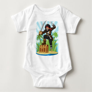 Pirate with His Treasure Chest Baby Bodysuit