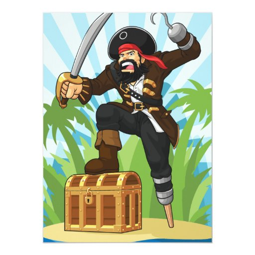 Pirate with His Treasure Chest Card