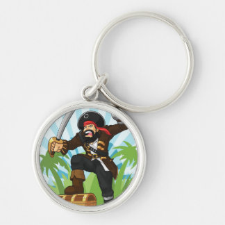 Pirate with His Treasure Chest Key Chain