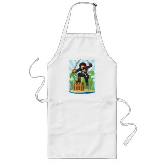 Pirate with His Treasure Chest Long Apron
