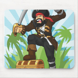 Pirate with His Treasure Chest Mouse Pad