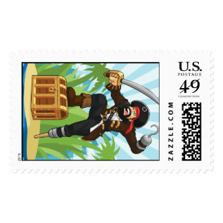 Pirate with His Treasure Chest Postage Stamps