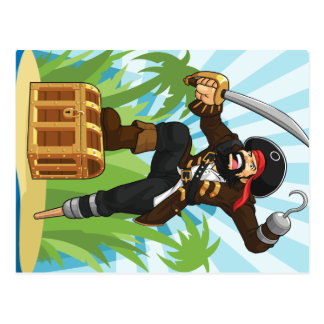 Pirate with His Treasure Chest Postcard