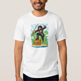 Pirate with His Treasure Chest T Shirt