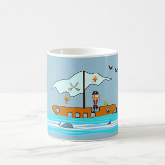 Pirate with ship coffee mug