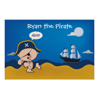 Pirate with ship decor for a kid's room - Poster