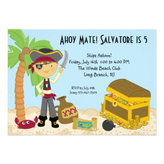 Pirate With Sword on an Island Birthday Invitation