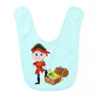 Pirate with Treasure Chest Baby Bib