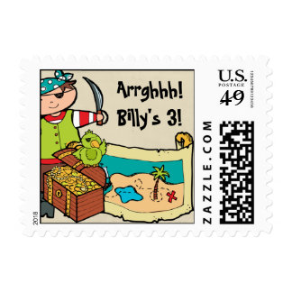 Pirate With Treasure Pirates Postage Stamps