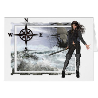 Pirate Woman with Rough Waters Designs Card